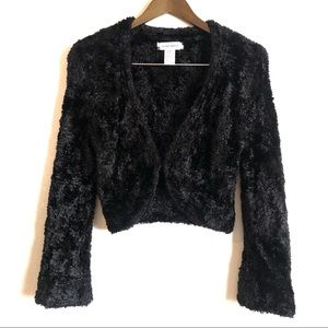 *3/$50* NINE WEST Fuzzy Soft Crop Cardigan Sweater